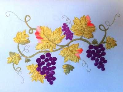 Все о вышивке гладью виноградной лозы